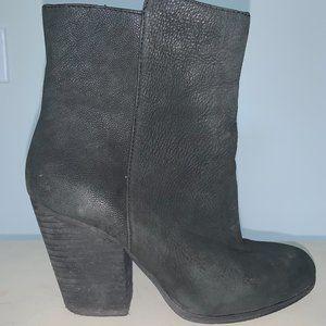 Black Leather Chunky Heeled Stacked Heel Booties